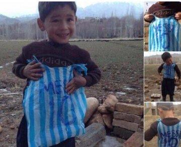 穿梅西球衣男孩找到了:阿富汗贫民